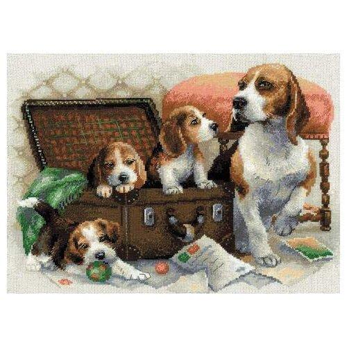 Фото - Риолис Набор для вышивания крестом Собачье семейство 40 x 30 (1328) риолис набор для вышивания крестом русская охота 60 x 40 1639