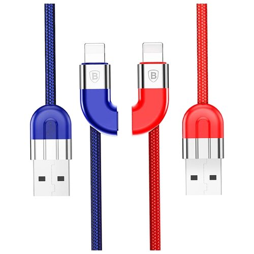 Кабель Baseus Couple Magnetic Lightning - USB (CALFD) 1 м, синий/красный кабель baseus couple magnetic lightning usb calfd 1 м синий красный