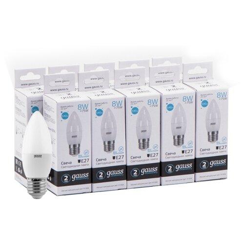Упаковка светодиодных ламп 10 шт gauss 33228, E27, 8Вт упаковка светодиодных ламп 10 шт gauss 33228 e27 c37 8вт