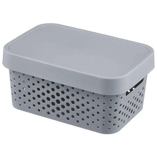 CURVER Коробка с крышкой Infinity 12,5x17,5x26см серый laundry basket curver infinity 59 l gray