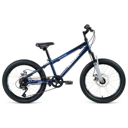 """Подростковый горный (MTB) велосипед ALTAIR MTB HT 20 2.0 Disc (2020) темно-синий/белый 10.5"""" (требует финальной сборки)"""