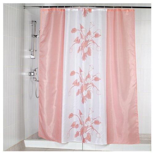 Штора для ванной Aquarius Цветы 180х200 розовый штора для ванной joyarty глаз в цветочном узоре 180х200 sc 19372