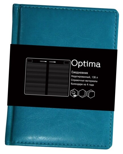Ежедневник Listoff Optima недатированный, искусственная кожа, А6, 136 листов