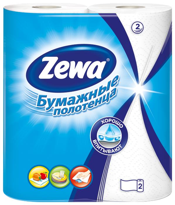 Полотенца бумажные Zewa белые двухслойные, 2 рул.