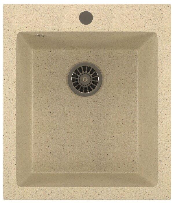 Мойка кухонная 490 MELANA 0,8/180 декор врезная круглая с сифоном (090D ta *15)