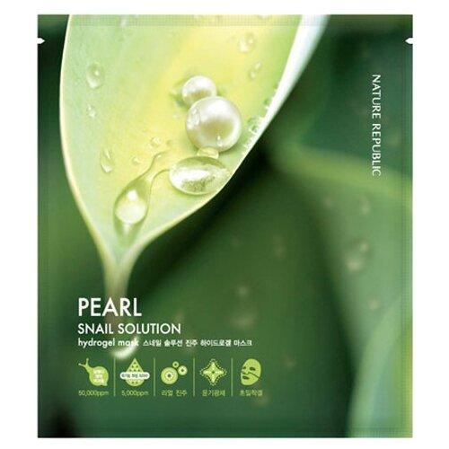 NATURE REPUBLIC гидрогелевая маска Snail Solution Pearl с экстрактом муцина улитки и жемчужной пудрой, 20 г фото