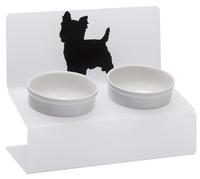 Миска АртМиска для собак двойная Йорк на подставке XS 0.35 л кремовый/черный