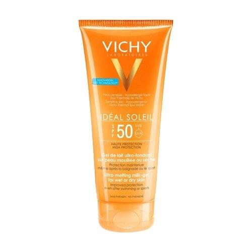 Vichy Capital Ideal Soleil тающая эмульсия с технологией нанесения на влажную кожу SPF 50 200 мл матирующая эмульсия для лица драй тач spf 30 50 мл термальная вода 50 мл vichy ideal soleil
