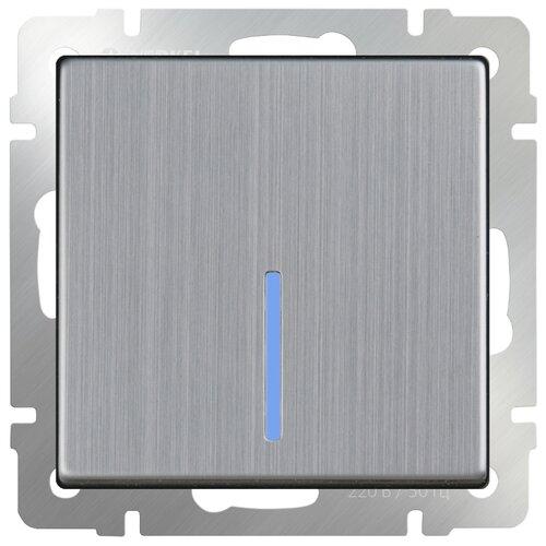 Выключатель 1-полюсный Werkel WL02-SW-1G-2W-LED,10А, никель выключатель 1 полюсный werkel wl06 sw 1g 2w led 10а серебристый