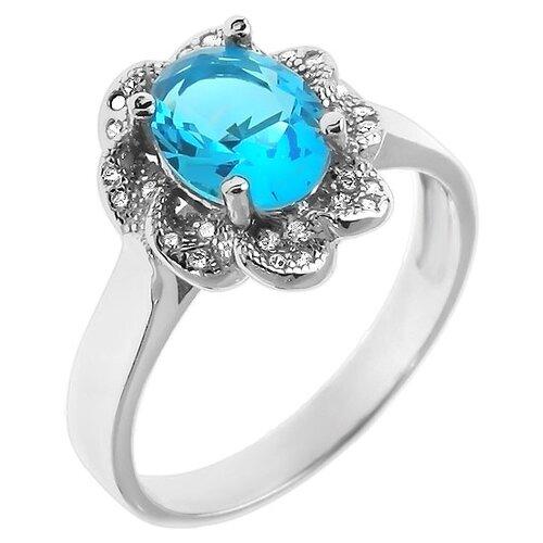 Фото - Balex Кольцо 1451920002 из серебра 925 пробы с топазом Лондон синтетическим и фианитом, размер 17 element47 кольцо из серебра 925 пробы с топазами лондон r32560h 7 ko lt wg размер 17 25