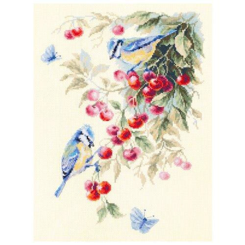 Купить Чудесная Игла Набор для вышивания Синицы и вишня, 25 x 35 см (130-021), Наборы для вышивания