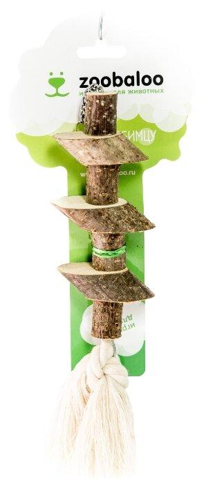 Игрушка для птиц Zoobaloo Деревянные брусочки с хлопковым шнуром