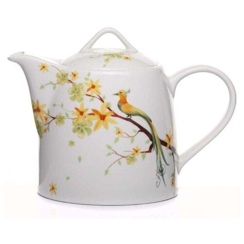Domenik Заварочный чайник Paradise Bird DM9017 800 мл, белый/зеленый/оранжевый набор столовый domenik paradise bird 19 предметов фарфор dm9012