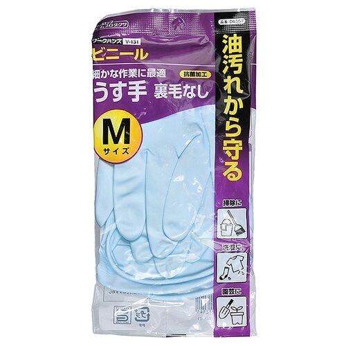Перчатки Dunlop Home Products хозяйственные виниловые, 1 пара, размер M, цвет голубой