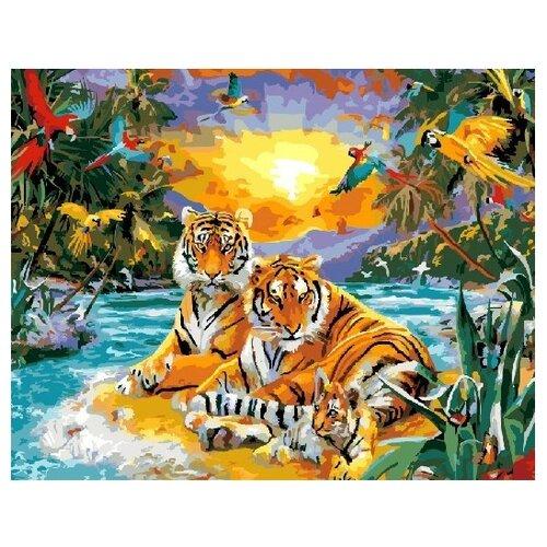 Фото - ВанГогВоМне Картина по номерам Тигры у озера, 40х50 см (ZX 21683) вангогвомне картина по номерам любовь к кофе 40х50 см zx 22277