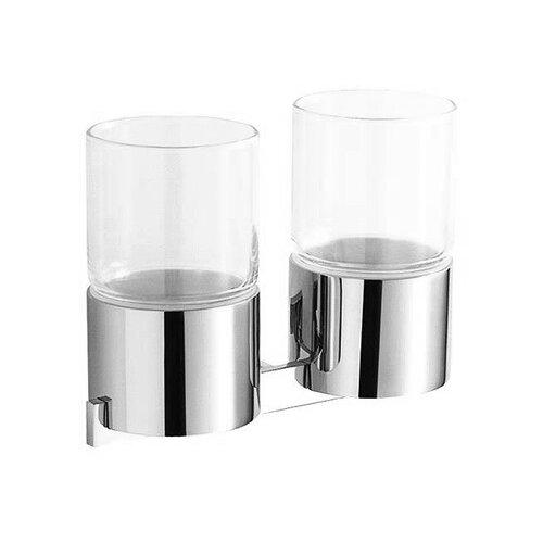 Стакан для зубных щеток IDDIS Corot L204 двойной хром/прозрачныйМыльницы, стаканы и дозаторы<br>