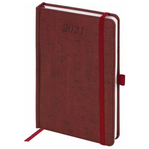 Купить Ежедневник BRAUBERG Wood датированный на 2021 год, искусственная кожа, А5, 168 листов, бордовый, Ежедневники, записные книжки