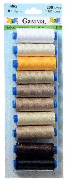 Gamma Набор швейных нитей №10 40/2 200 ярдов 183 м х 10 шт.