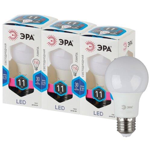 Упаковка светодиодных ламп 3 шт ЭРА E27, A60, 11 Вт, 4000 КЛампочки<br>