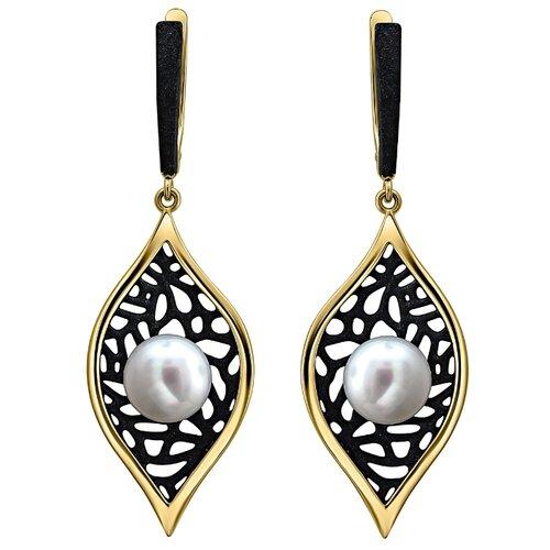 Эстет Серебряные серьги с жемчугом, эмаль С20С35842Y1BЭП