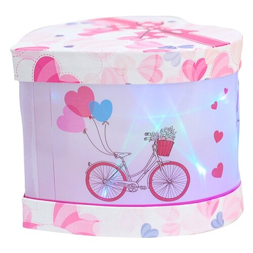 Коробка подарочная Yiwu Zhousima Crafts со светодиодом 15 х 12 х 15 см розовый