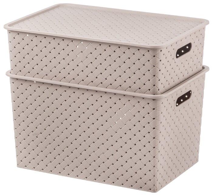 Купить Набор 2-х корзинок с крышками 7,5 л, 14 л EL Casa Береста мокка по низкой цене с доставкой из Яндекс.Маркета