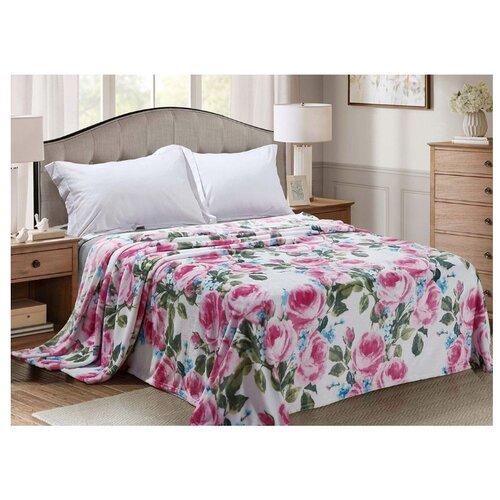 цена Плед Cleo Калифорния 180х200 см, белый/зеленый/розовый онлайн в 2017 году