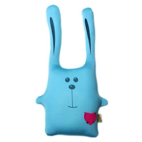 Купить Подушка-игрушка антистресс Штучки, к которым тянутся ручки Заяц Ушастик голубой 43 см, Мягкие игрушки