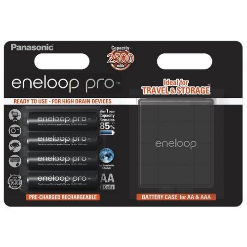 Фото - Аккумулятор Ni-Mh 2500 мА·ч Panasonic eneloop pro AA + кейс, 4 шт. аккумулятор ni mh 2500 ма·ч camelion nh aa2500 2 шт