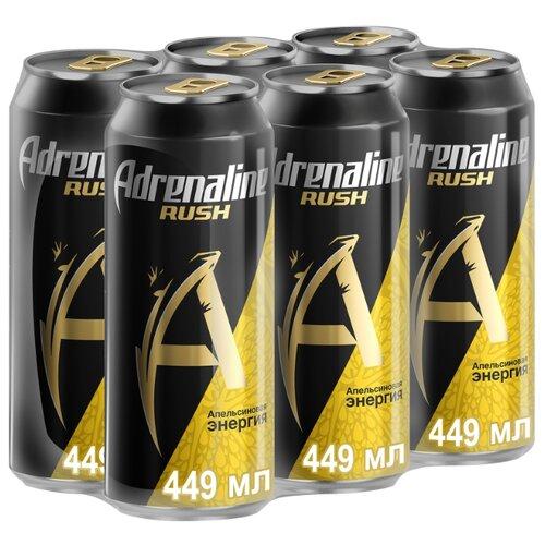 Энергетический напиток Adrenaline Rush Juicy апельсиновая энергия, 0.449 л, 6 шт.