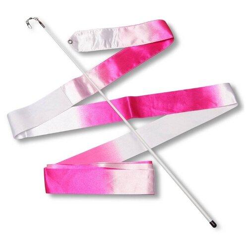 Палочка с лентой для художественной гимнастики Indigo АВ236-16 белый/розовый