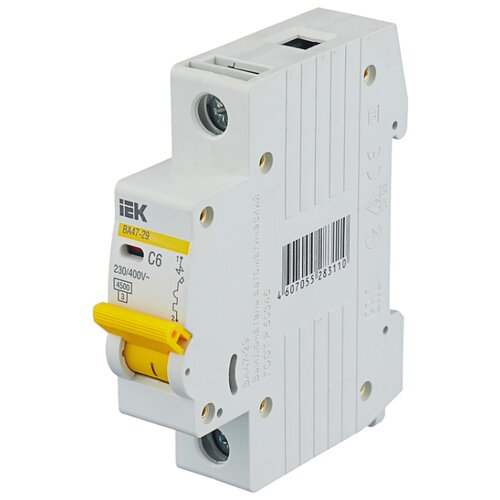 Автоматический выключатель IEK ВА 47-29 1P (C) 4,5kA 6 А iek mva41 2 006 c авт выкл ва 47 60 2р 6а 6 ка х ка с иэк
