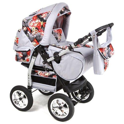 Коляска-трансформер Marimex Ross серый/оранжевый коляска трансформер marimex bemix pcl синий голубой люлька надувные колеса