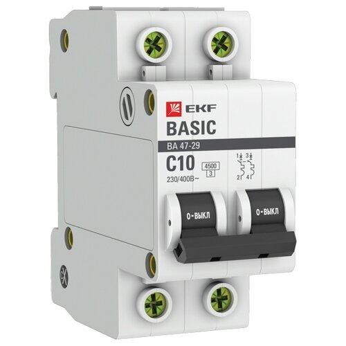 Автоматический выключатель EKF ВА 47-29 2P (C) 4,5kA 10 А по цене 235