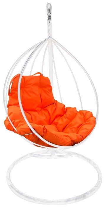 """Купить Белое подвесное кресло """"капля"""" с оранжевой подушкой по низкой цене с доставкой из Яндекс.Маркета"""