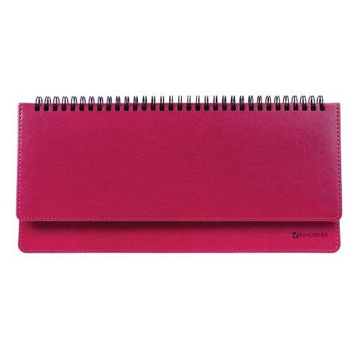 Купить Планинг BRAUBERG Rainbow недатированный, искусственная кожа, 60 листов, розовый, Ежедневники, записные книжки