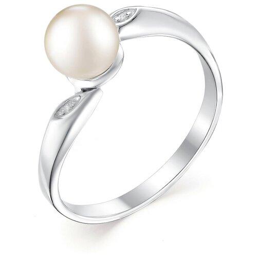 АЛЬКОР Кольцо с жемчугом и фианитами из серебра 01-0482-00ЖБ-00, размер 19 фото