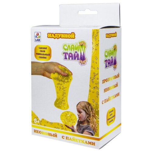 Купить Набор 1 TOY Слайм тайм. Надувной с пайетками Т17480 неоновый желтый, Наборы для исследований