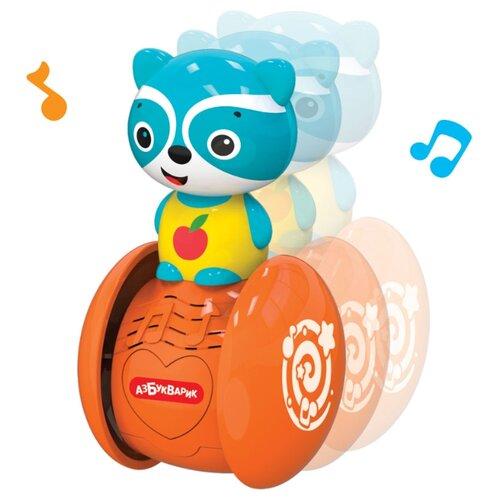 Купить Неваляшка Азбукварик Музыкальные покатушки Енотик 10.5 см голубой/оранжевый, Неваляшки