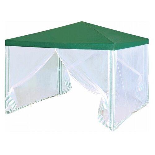 Шатер Green Glade 1028, со стенками и москитной сеткой, 3 х 3 х 2.5 м белый/зеленый