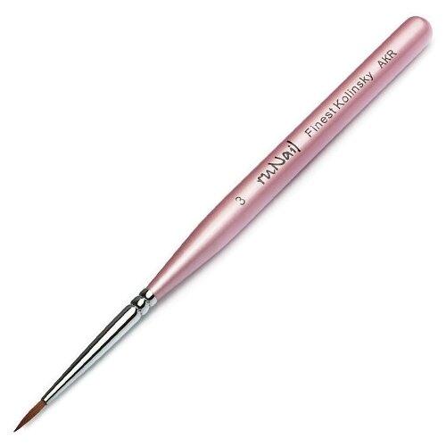 Кисть для дизайна ногтей Finest Kolinsky AKR №3 Runail розовый