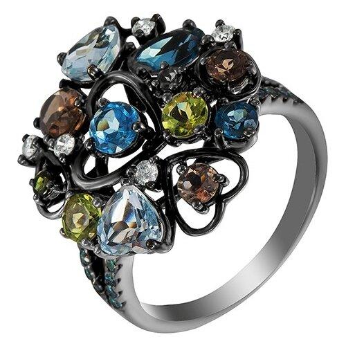 JV Кольцо из черного золота 585 пробы с бриллиантами и цветными полудрагоценными камнями AAS-3161R-KO-DL-MC-BLK, размер 17.5