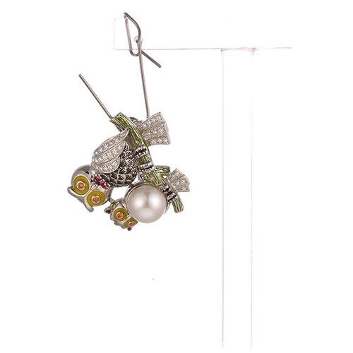 JV Брошь из серебра 925 пробы с фианитами, культивированным жемчугом и эмалью PS090018BH-JV-WP-ENAM-001-BW