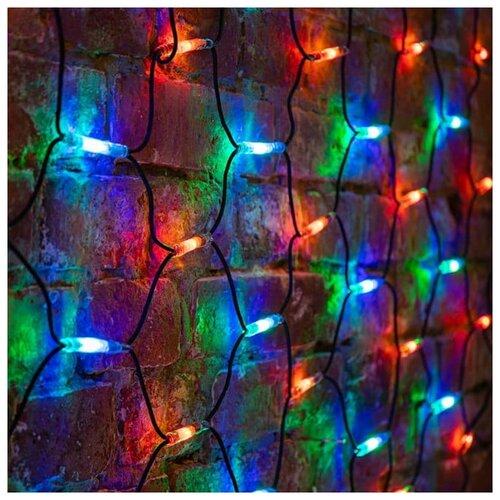 Фото - Гирлянда NEON-NIGHT Сеть 2 x 1,5 м, черный Каучук, Мультиколор, 288 LED светодиодная уличная гирлянда бахрома neon night синего свечения 2 4х0 6 м 76 led