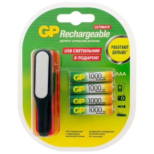 Фото - Аккумулятор Ni-Mh 1000 мА·ч GP Rechargeable 1000 Series AAA + USB светильник 4 шт блистер аккумулятор