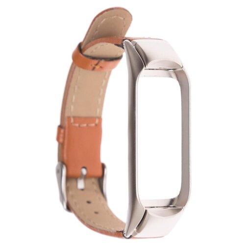 GSMIN Кожаный ремешок Leather Collection для Xiaomi Mi Band 3/Xiaomi Mi Band 4 коричневый