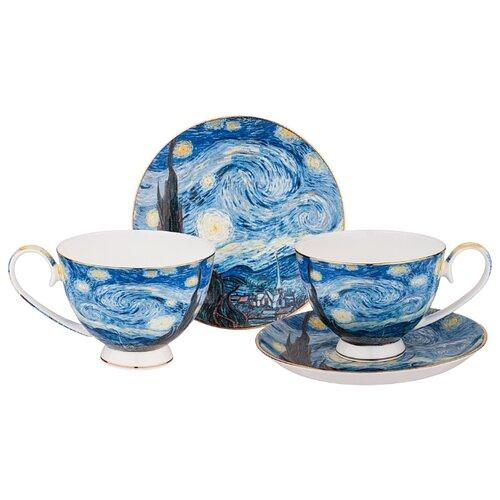 Фото - Набор чайный Lefard Звездная Ночь (В. Ван Гог) на 2 персоны, 4 предмета 250 мл (104-650) сервиз чайный из фарфора звездная ночь 2 предмета 104 649 lefard