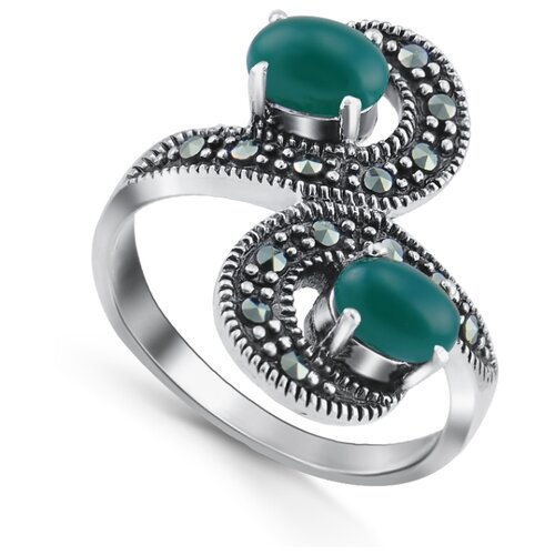 Silver WINGS Кольцо с марказитами и агатами из серебра 210018-300e-39, размер 19 кольцо silver wings