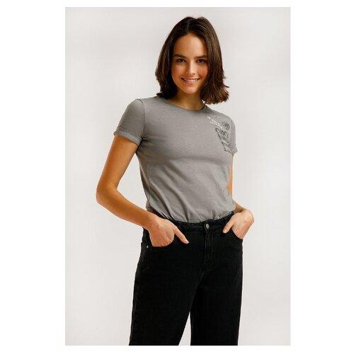 Футболка FiNN FLARE B20-32043M размер 2XL, серый меланж футболка finn flare b20 32068m размер 2xl серый меланж