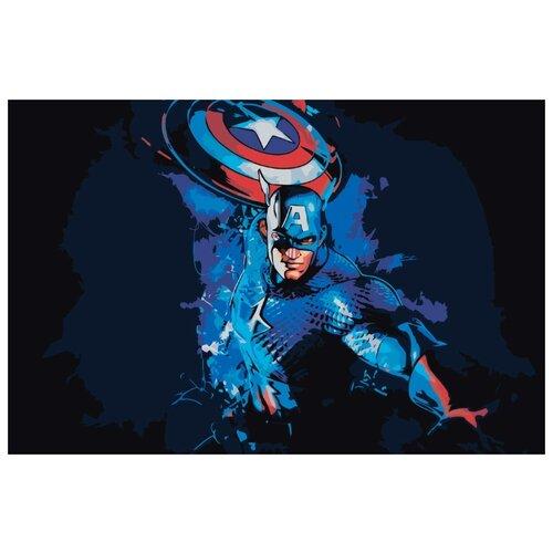 Купить Картина по номерам Живопись по Номерам Капитан Америка , 40x60 см, Живопись по номерам, Картины по номерам и контурам